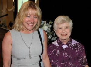 Sister Carol (right) was presented with the Saint Mother Theodore Guerin Award by SMWC President Dottie King, Ph.D. Sister Carol graduated from the College in 1954.