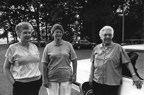 Sister Loretta Schafer (right) with Sister Kay Manley (left) and Sister Jenny Howard (center). This photo was taken in 1992.