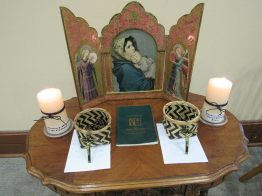Prayer space set up for the mission novice blessing.