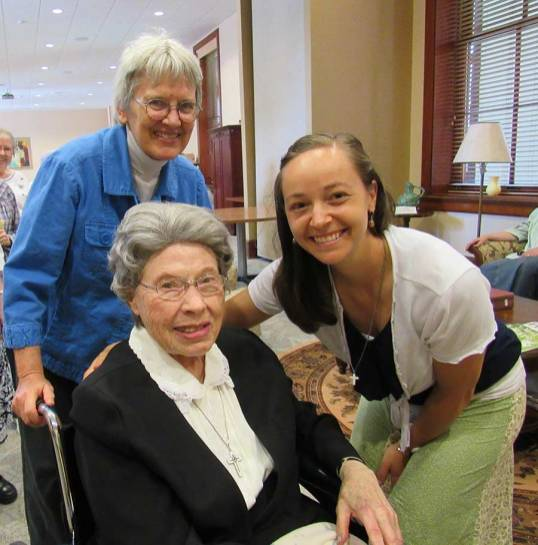 Sister Tracey Horan with Sisters Mirian Clare Stoll (seated) and Sister Nancy Bartasavich.