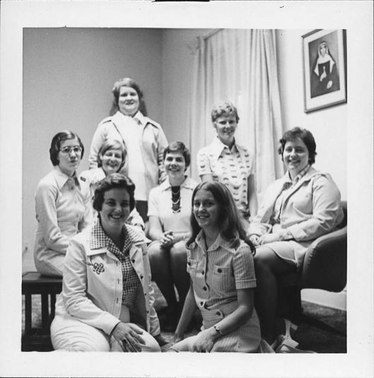 This photo, taken in 1975, shows Sister Jeanne Hagelskamp (front row, right), Sister Dawn Tomaszewski (middle, second from left), and Sister Lisa Stallings (back, second from right) as novices along with (front) Sister Sue Pietrus (RIP); (middle): Sister Kathy Scheewe, novice director Sister Rose Ann Eaton, Sister Mary Ann DeFazio and Sister Wendy Workman (RIP) (standing).