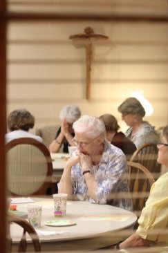 Power in prayer: Sisters Peggy Nau, foreground and Rosemary Nudd, back left, during the evening prayer on Friday.