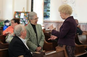 Sister Rosemary Eyler chats with new Providence Associate Joan Haugh-Beatty, right.