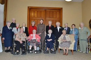 Sisters of Providence 70-year Jubilarians Sister Joanne Cullins, Sister Mary Mark Dede, Sister Marie Alexis Geiger, Sister Lois Ann Stoiber, Sister Adele Beacham, Sister Margaret Ann Wilson, Sister Anita Bechert, Sister Mary Maxine Teipen, Sister Mary Lois Hennel and Sister Caroline Hatch were honored on Dec. 8, during the annual Senior Jubilee Celebration. They were joined by the General Council, including Sister Dawn Tomaszewski, Sister Lisa Stallings, Sister Mary Beth Klingel, Sister Jeanne Hagelskamp and Sister Jenny Howard. Not pictured: 70-year Jubilarians Sister Adelaide Ortegel and Sister Marie Brendan Harvey.