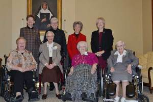Sisters of Providence 75-year Jubilarians Sister Marie David Schroeder (second in front), along with Sister Eileen Clare Goetzen (third in front) and Sister Agnes Eugene Cordak (front, far right) were honored on Dec. 8, during the annual Senior Jubilee Celebration. They were joined by the General Council, including Sister Mary Beth Klingel (front, left), Sister Dawn Tomaszewski (back, from left), Sister Lisa Stallings, Sister Jeanne Hagelskamp, and Sister Jenny Howard.