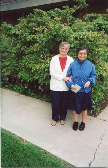 Sister Denise Wilkinson with Sister Concetta at Marywood, California.
