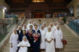 Sister Dawn, Sister Jeanne, Sister Donna Marie Fu and Sister Delan Ma along with many Missionary Sisters of Providence at the Missionary Sisters of Providence School.