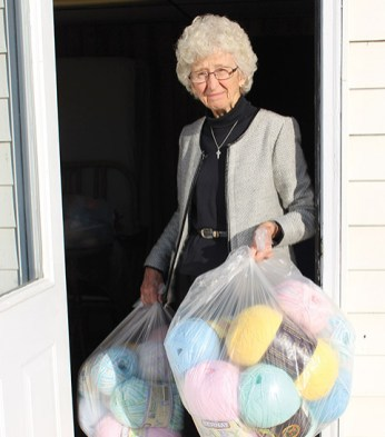 Sister Dorothy collects donated yarn which she then delivers to men and women in prison. The inmates knit the baby yarn into baby hats, blankets and booties for needy families (in conjunction with Union Hospital). They create warm afghans for the elderly in nursing homes with the regular yarn.