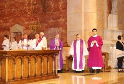 Most Reverend Bishop Charles C. Thompson, D.D., JCL, of Evansville (center), joined Very Reverend Raymond A. Brenner, pastor of Saint Joseph Catholic Church, along with many others, to preside over the mass.