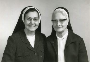 An undated photo of Sister Catherine Celine Brocksmith (right) and Mother Mary Pius Regnier.