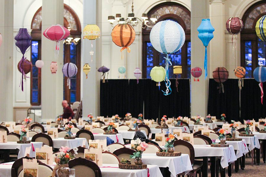 O'Shaughnessy Dining Room venue decorated for a special event with colorful lanterns.
