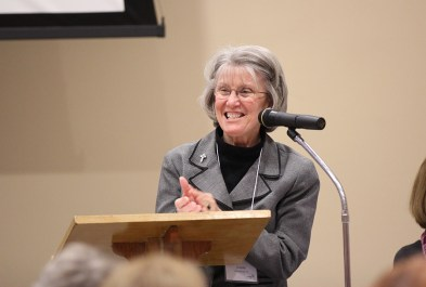 General Councilor Sister Jeanne Hagelskamp announces the new co-drector of Providence Associates, Sister Sue Paweski.