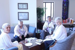 Enjoying lunch and good company, from left Sisters Mary Morley, Mary Jeanine Schubert, Elizabeth Koressel and Mary Catherine Duffy.ual meeting 2018