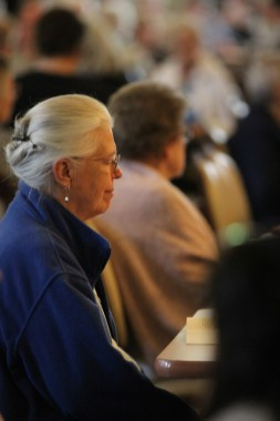 Sister Maureen Abbott during a prayer moment.