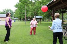 Sister Teresa Costello enjoying a game of bouncy ball.