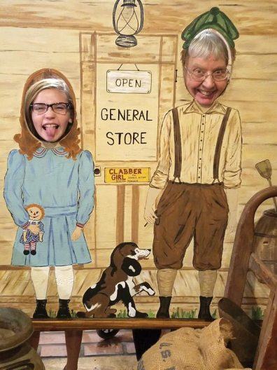 Volunteer NaKea Anderson and Sister Suzanne Buthod ham it up on a visit to the Clabber Girl museum.