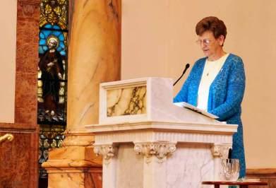 Sister Dawn Tomaszewski gives a warm reflection to Teresa, the Congregation and Associates.