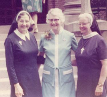 Sister Agnes Celine Hammond (center) with former General Superior Sister Mary Pius Regnier (left) and Sister Eileen Mary Cunningham in an undated photo.