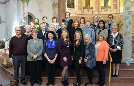 Providence Associates 2018. From bottom row, left: Richard Kennel, Kathryn Martin, Stephanie Downing, Ursula Penrose, Mary Ellen Wieland, Mary Lou Petrisko, Diane Gardner. Second row from left: Donna Liszewski, Sharon Woods, Nancy Olson, Starletta Schipp, Julie Mansard, Nancy Dannels, Sharon Rodriguez, Providence Associate Co-director Sister Susan Paweski. Back row from left: Providence Associate Co-Director Debbie Dillow, Elaine Osborne, Pearlette Springer, Kate Childs Graham, Sherrie Mansfield, Julia Lopez-Kaley, Carri O'Donnell, Adrienne Bates-Brown, Candace Minster. Not pictured, Kevin Buchanan.