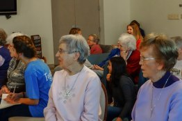 Sisters Rita Clare Gerardot and Theresa Clare Carr enjoy the show.