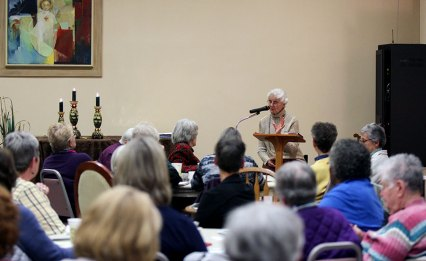 Presenter Sister Dianne Bergant, C.S.A. speaks on the community of Earth and how we see our common home.