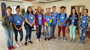 Providence Teen Ministry volunteered with Providence Healthcare Center. Teens helped PHC by transporting the elderly to shop at the Craft Fair and Linden Leaf Gifts. A few of the students even sang and played music for everyone to enjoy.