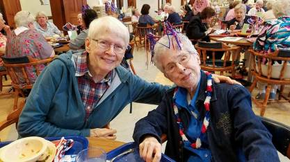 Sisters Susan Dinnin and Adele Beacham during the 4th of July luncheon.