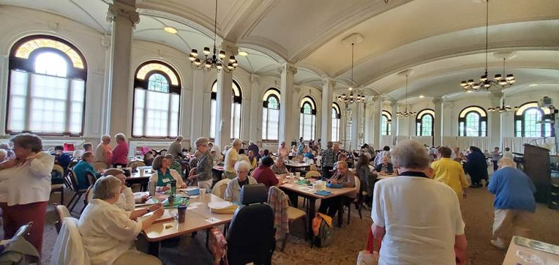 A room full of Sisters of Providence gathered at the Woods for the annual meeting.
