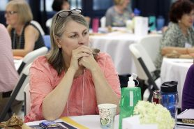 Providence Associate Ann Henderson during a reflective moment at Saturday's meeting.