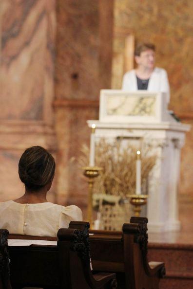 Jessica listens to General Superior Sister Dawn Tomaszewski's reflection.