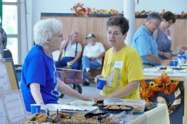 Sister Patty Fillenwarth volunteers at the pantry, as does Toni.