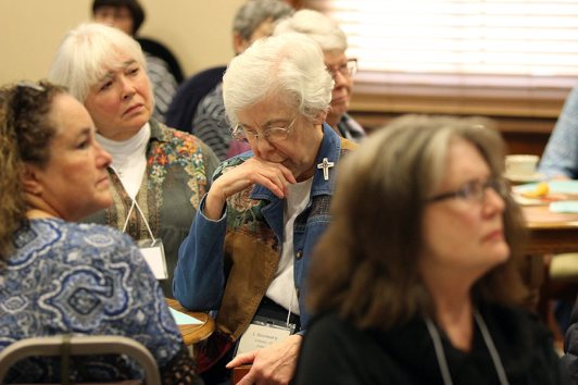 Sister Rosemary Schmalz reflects during a prayer moment