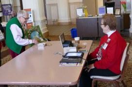 Sister Rose Virginia Eichman shows off a craft to Providence Assocaite Donna Watzke