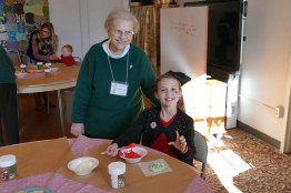 Sister Marie Grace Molloy helps with cookie decorating