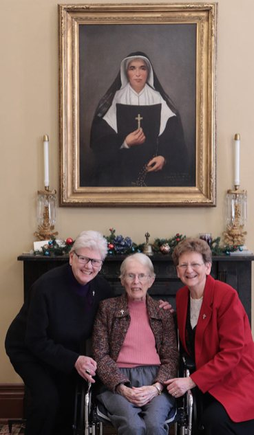 Sister Ellen Cunningham, center, with General Officers Sisters Lisa Stallings and Dawn Tomaszewski