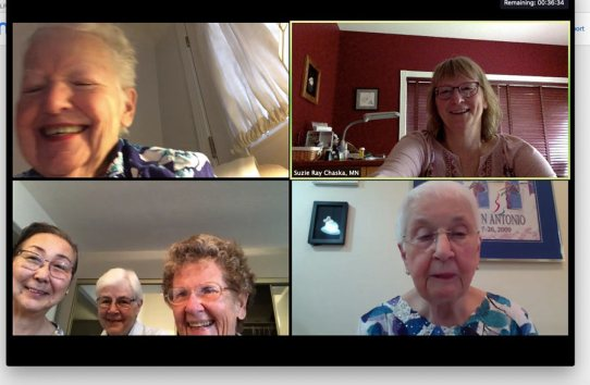 A virtual small meeting group from top left: Sister Grace Marie Meehan, Providence Associate Suzie Ray, Sisters Doreen Lai, Mary Jo Piccione and Josephine Bryan and Sister Carolyn Kessler