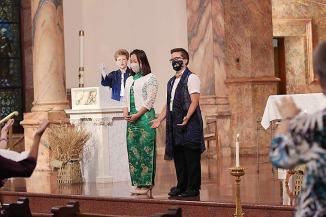 Sister Dawn Tomaszewski (left) with Sisters Teresa Kang and Corbin Hannah.