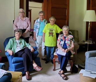 Some of the sisters meeting in the Woodland Inn small group pose for a picture: from left Sisters Betty Koressel, Cynthia Lynge, Mary Maloney, Carol Lindly and Jeanette Marie Lucinio