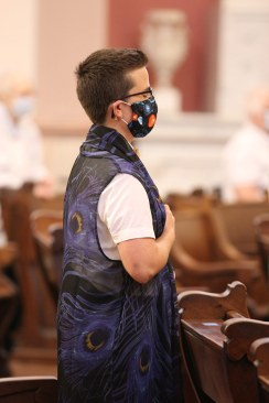 Sister Corbin prays during Mass