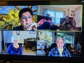 Virtual small group meeting on screen. From top left: Providence Associate Diana Garza, Sister Nancy Reynolds, Providence Associates Joan Frisz, Regina Hartman, Lorraine Kirker
