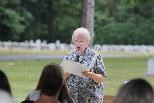 Sister Marie Grace Molloy offered a reading during the blessing of the Good Shepherd Chapel on Sunday, August 30, 2020.