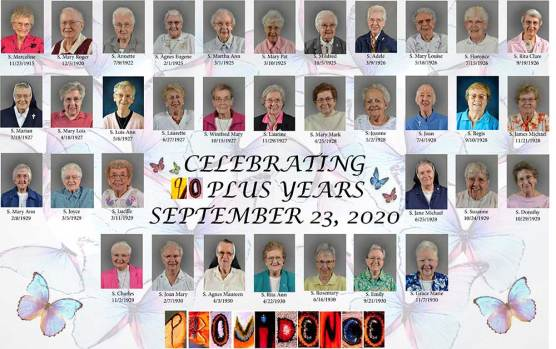 Placement showing all the Sisters of Providence celebrating 90 years of age or older this year