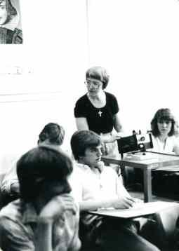 Sister Margaret Quinlan teaching a class at Evansville Reitz Memorial High School in 1981.