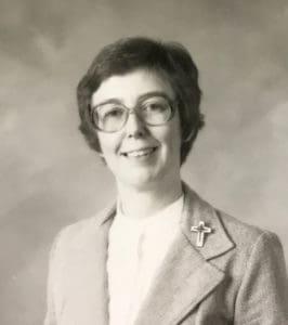 Black and white photo of Sister Gloria Memering
