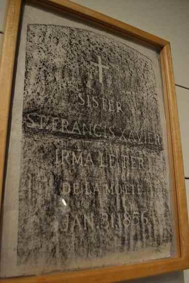 A pencil rubbing of the grave marker for Sister St. Francis Xavier Irma Le Fer De La Motte.