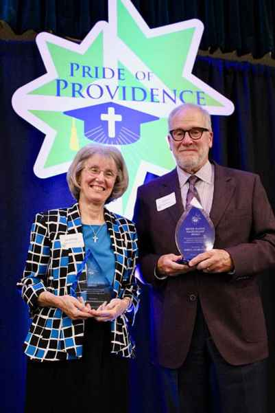Sister Jeanne Hagelskamp (left) and John C. Lechleiter both received awards at the Providence Cristo Rey High School Pride of Providence annual fundraiser earlier this month. Photo provided by Providence Cristo Rey High School.