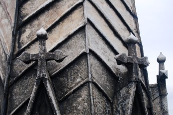 Slate pinnacle on the central tower of Lincoln Cathedral.