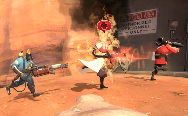I think that Medic is trying to tell him something... Picture by Medic