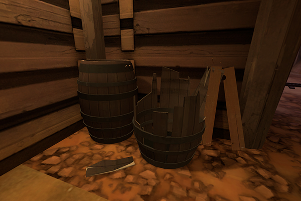 A destroyed barrel next to its unharmed counterpart on Dustbowl.