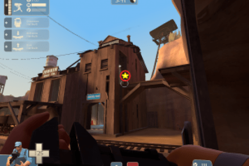A rocket barrage here could destroy the sentry with splash damage, leaving the soldier unharmed.
